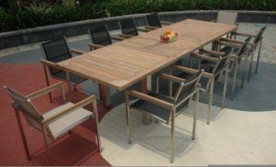 Table de jardin teck et inox rallonges Thales 300