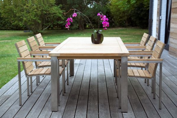 Table de jardin teck inox bora for Table de jardin en teck