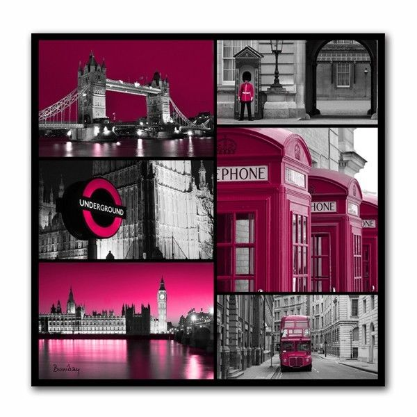 Tableau design pink london 70x70 for Decoration theme angleterre