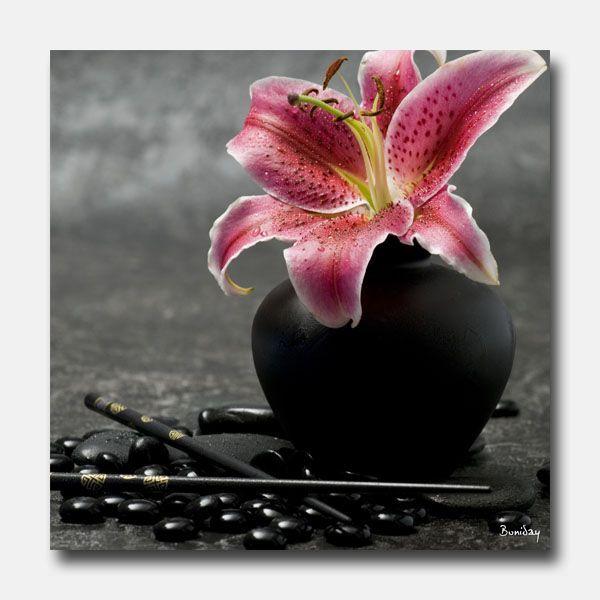 Tableau design noir et rose zen 50x50 for Tableau noir et rose