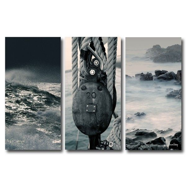 tableau triptyque design mer sauvage 60x90 d coration. Black Bedroom Furniture Sets. Home Design Ideas