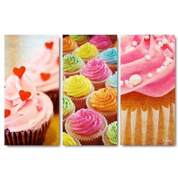 Tableau triptyque design d co cupcakes 60x90 - Deco pour cupcake ...