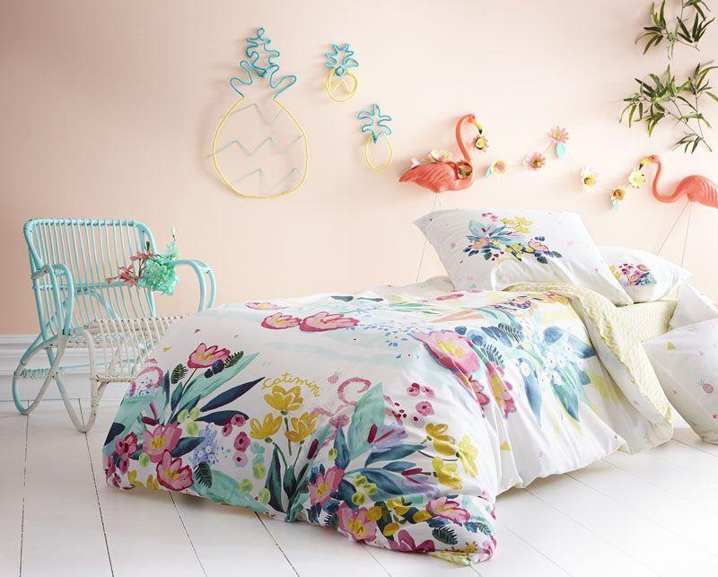 drap housse le aux fleurs coton 90x190 linge de maison. Black Bedroom Furniture Sets. Home Design Ideas