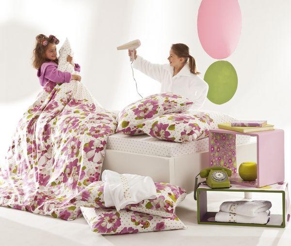 housse de couette flor al rose 200x200 linge de maison. Black Bedroom Furniture Sets. Home Design Ideas