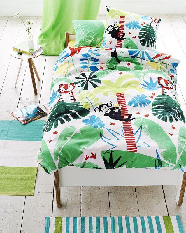 drap housse jungle playtime coton 90x190 linge de maison. Black Bedroom Furniture Sets. Home Design Ideas