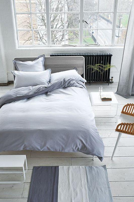taie d 39 oreiller saraille zinc satin de coton 50x75 linge de maison. Black Bedroom Furniture Sets. Home Design Ideas