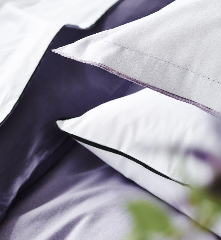 taie d 39 oreiller satin de coton saraille heather 50x75. Black Bedroom Furniture Sets. Home Design Ideas