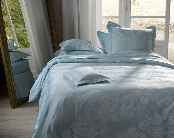 drap de lit satin de coton giverny opaline 180x290 linge de maison. Black Bedroom Furniture Sets. Home Design Ideas
