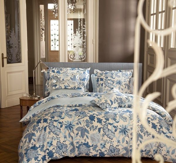 housse de couette satin de coton amita bleu 140x200 linge de maison. Black Bedroom Furniture Sets. Home Design Ideas