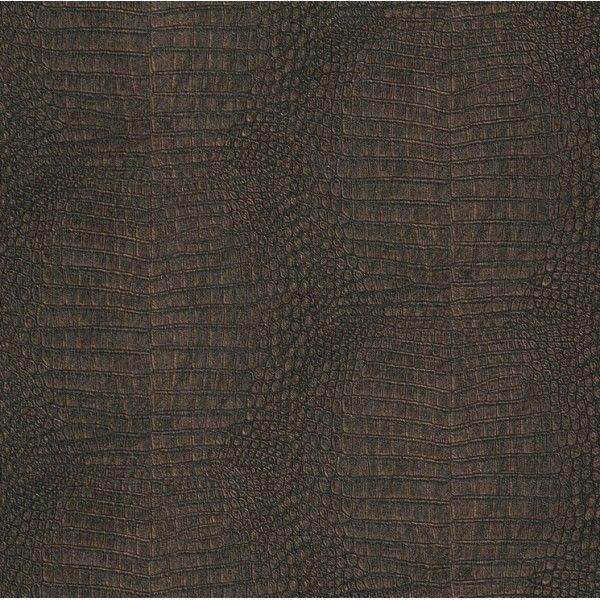 Papier peint intiss croco marron cuivre idasy for Papier peint cuir marron