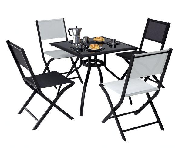 chaise pliante modulo noir blanc meubles de jardin. Black Bedroom Furniture Sets. Home Design Ideas