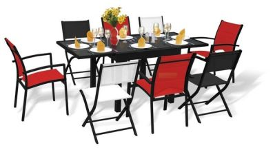 Salon de jardin Modulo 1 table 8 places rouge/blanc/noir