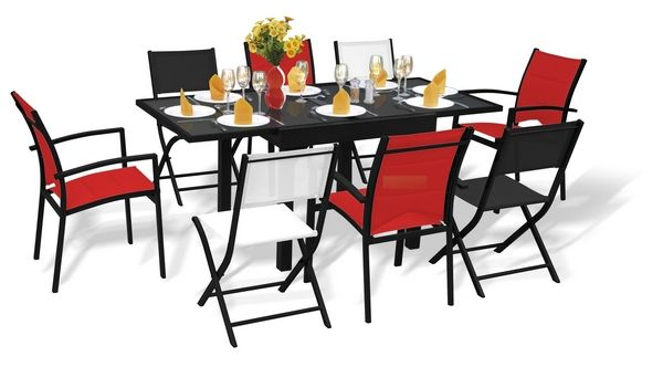 salon de jardin modulo 1 table 8 places rouge blanc noir. Black Bedroom Furniture Sets. Home Design Ideas