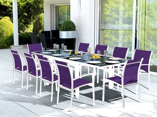salon de jardin table modulo blanc parme 10 places meubles de jardin. Black Bedroom Furniture Sets. Home Design Ideas