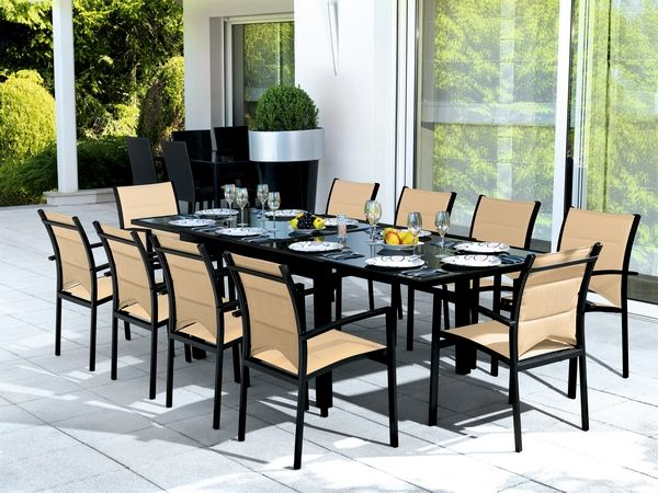 salon de jardin table modulo noir beige 10 places meubles de jardin. Black Bedroom Furniture Sets. Home Design Ideas