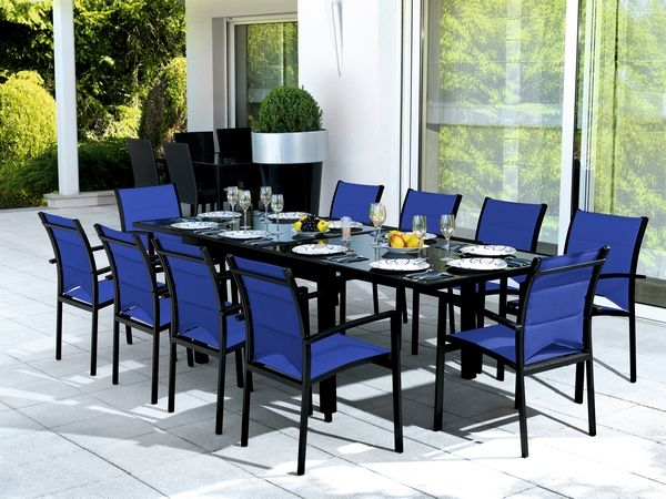 salon de jardin table modulo noir bleu 4 places meubles de jardin. Black Bedroom Furniture Sets. Home Design Ideas