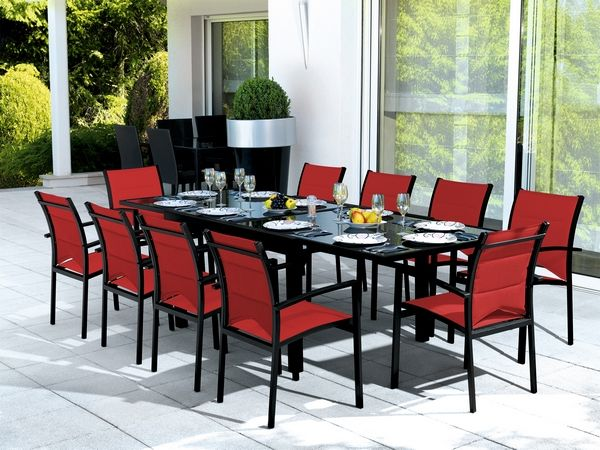 salon de jardin table modulo noir rouge 4 places. Black Bedroom Furniture Sets. Home Design Ideas