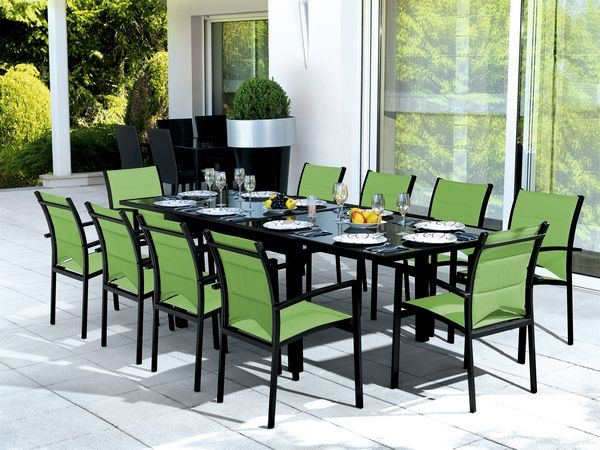 salon de jardin table modulo noir vert anis 4 places. Black Bedroom Furniture Sets. Home Design Ideas
