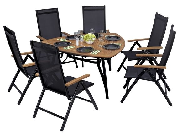salon de jardin table teck alu bermudes 6 places meubles de jardin. Black Bedroom Furniture Sets. Home Design Ideas