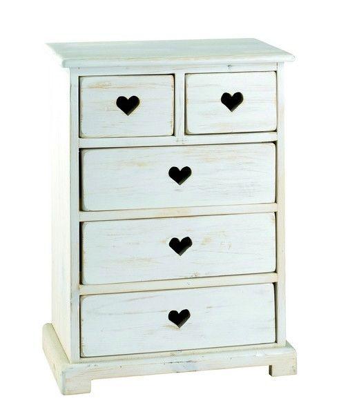 Commode pin blanchi 4 tiroirs petit mod le - Commode bois blanchi ...