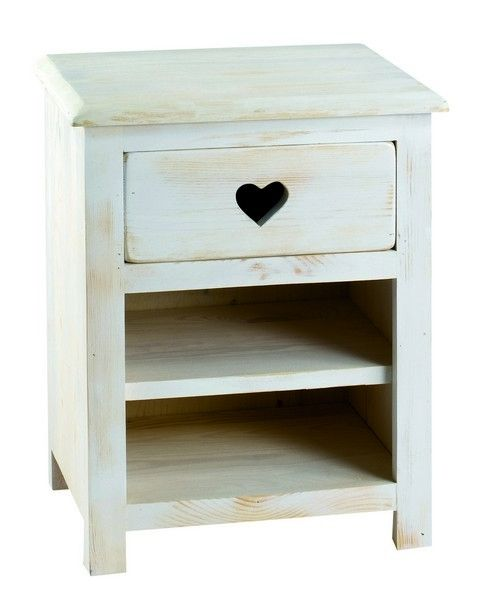 meuble de chevet pin blanchi 2 niches coeur. Black Bedroom Furniture Sets. Home Design Ideas