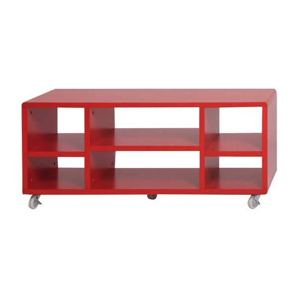 Meuble t l design cube rouge for Meuble tv rouge but