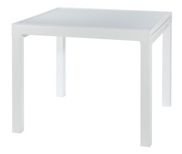 table carr e blanche avec rallonge table de lit. Black Bedroom Furniture Sets. Home Design Ideas
