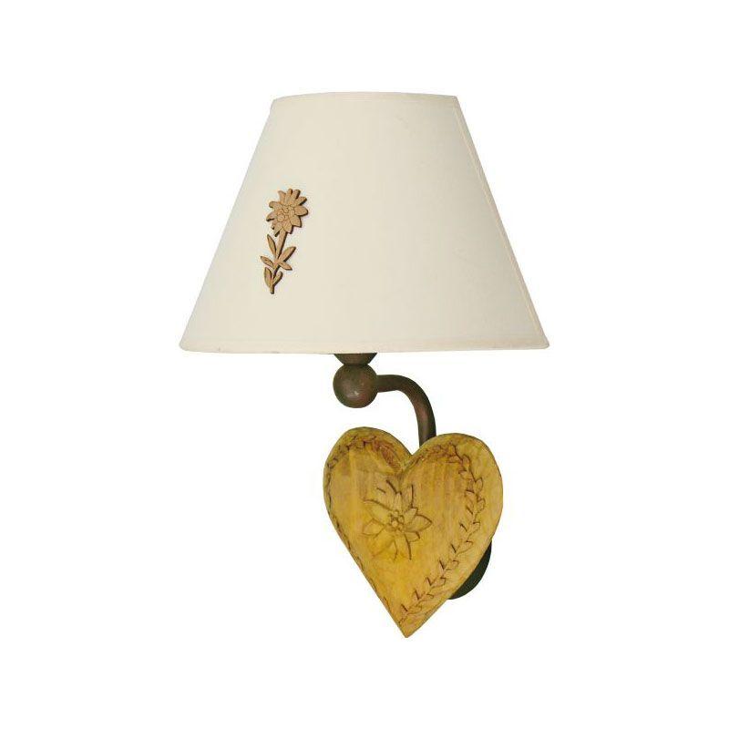 applique coeur fer forg et bois edelweiss luminaires. Black Bedroom Furniture Sets. Home Design Ideas