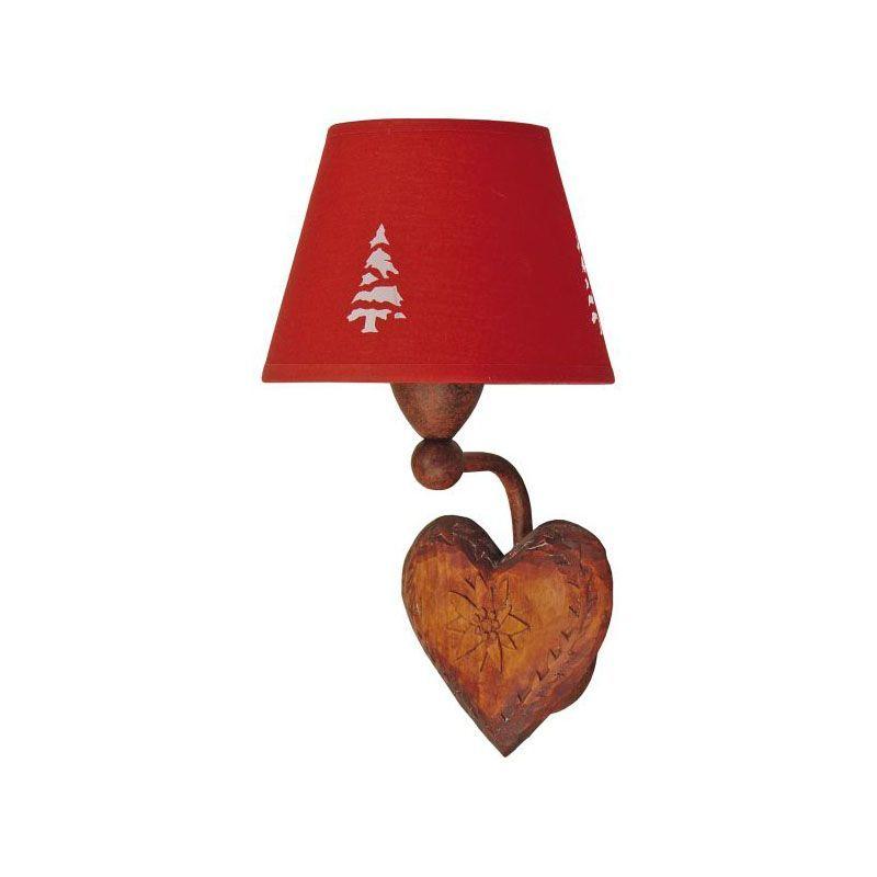 applique coeur fer forg et bois rouge luminaires. Black Bedroom Furniture Sets. Home Design Ideas