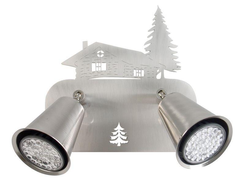 applique m tal d cor nickel satin motif montagne 2 spots rotule luminaires. Black Bedroom Furniture Sets. Home Design Ideas