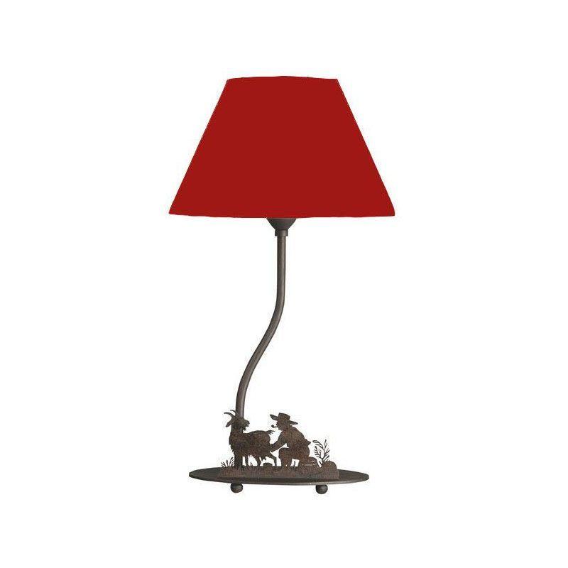 À Rouge Métal Lampe Décoré Poser Berger MzSpqUVG