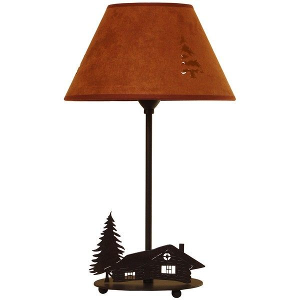 lampe poser m tal d cor chalet abat jour chocolat luminaires. Black Bedroom Furniture Sets. Home Design Ideas