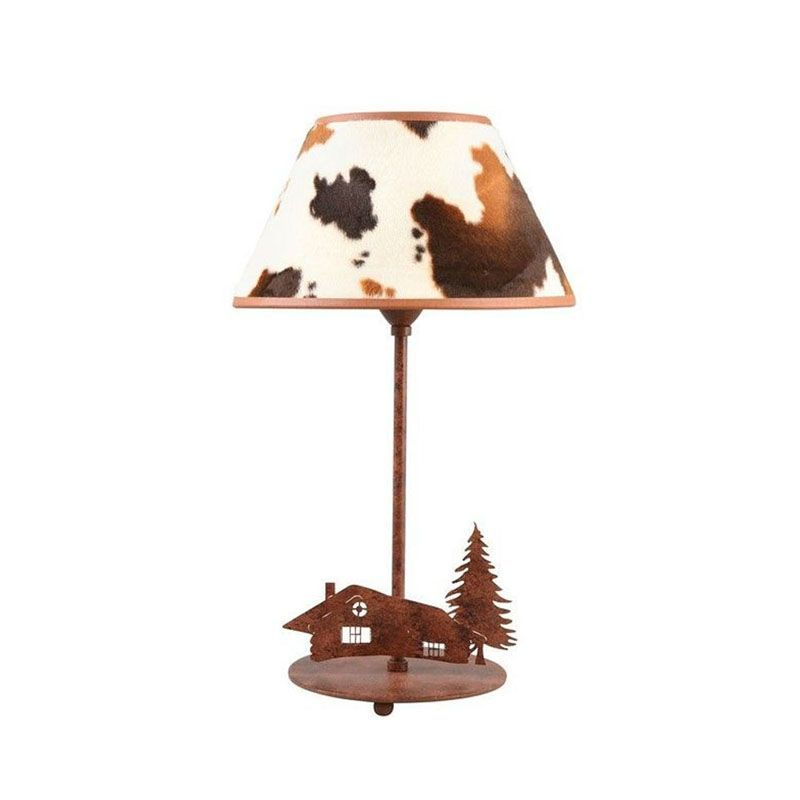lampe poser m tal d cor chalet abat jour vache luminaires. Black Bedroom Furniture Sets. Home Design Ideas