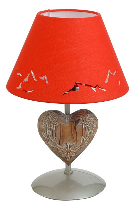lampe de chevet m tal peint argent motif coeur abat jour rouge h30. Black Bedroom Furniture Sets. Home Design Ideas