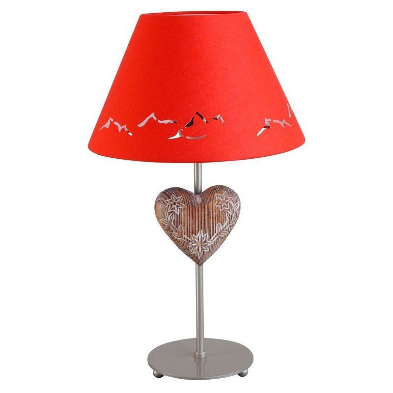 lampe de chevet m tal peint argent motif coeur abat jour rouge h44 luminaires. Black Bedroom Furniture Sets. Home Design Ideas