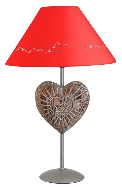 lampe de chevet m tal peint argent motif coeur abat jour rouge h47. Black Bedroom Furniture Sets. Home Design Ideas