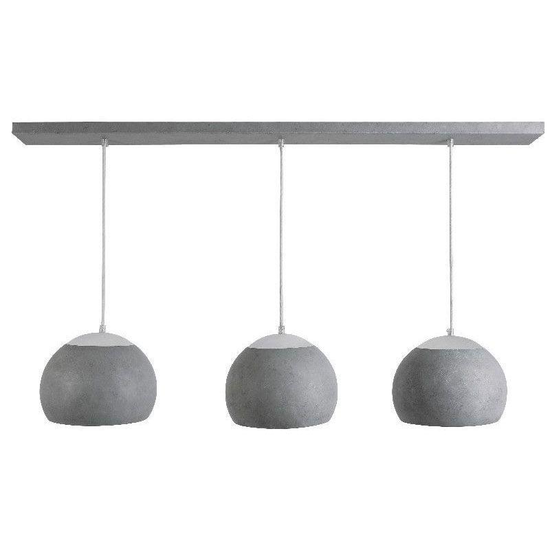 lustre boule m tal patin 3 clairages b ton satin luminaires. Black Bedroom Furniture Sets. Home Design Ideas