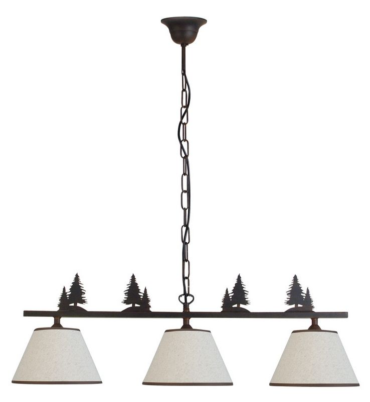 lustre m tal d cor patin motif sapin 3 abat jour 3 clairages luminaires. Black Bedroom Furniture Sets. Home Design Ideas