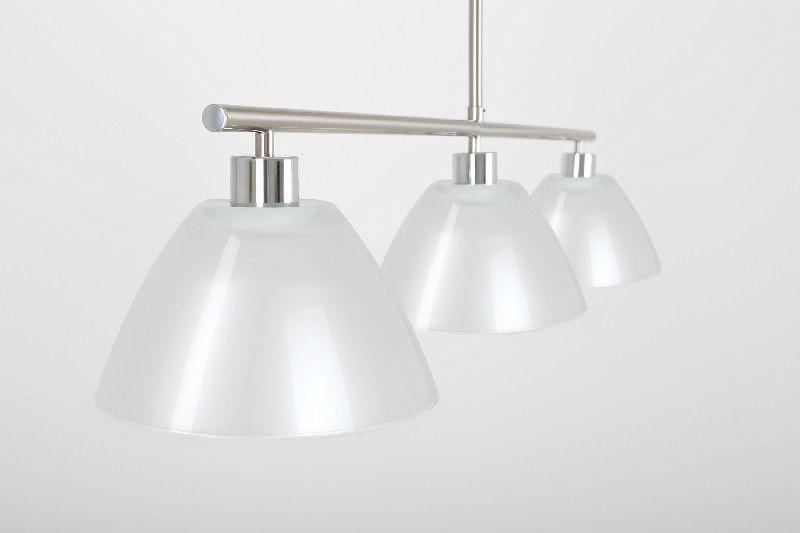 lustre t l scopique nickel satin 3 clairages verrerie blanc nacr luminaires. Black Bedroom Furniture Sets. Home Design Ideas