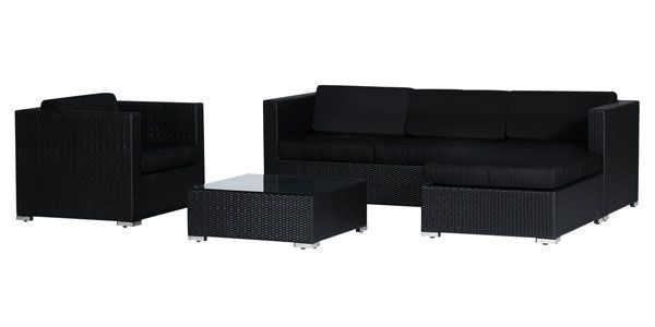 salon r sine tress e vittoria noir coussins noirs. Black Bedroom Furniture Sets. Home Design Ideas