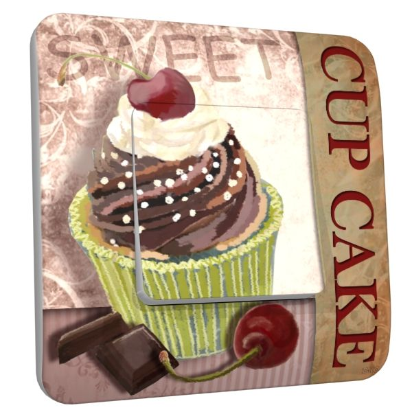 interrupteur d co cup cake chocolat 1 poussoir dko interrupteur. Black Bedroom Furniture Sets. Home Design Ideas