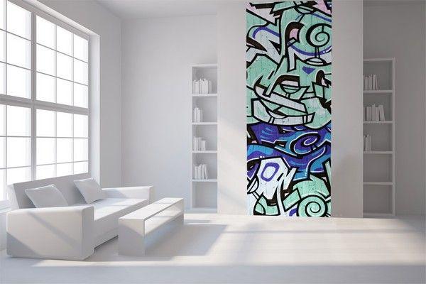 Papier peint lé unique Tag bleu   Décoration | decotaime.fr