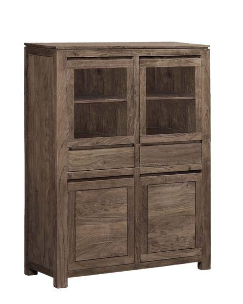 buffet haut acacia massif mara cendr 4 portes. Black Bedroom Furniture Sets. Home Design Ideas