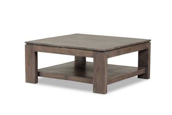 Table basse acacia massif mara cendr carr e mobilier for Table basse acacia massif