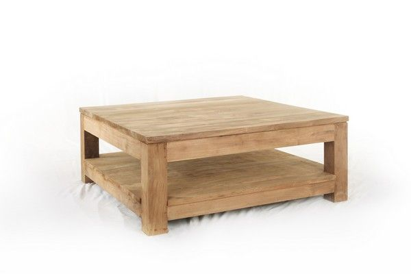 Table basse teck authentic carr e - Table basse carree en bois ...