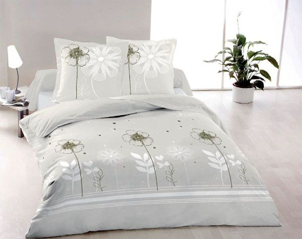 parure de lit percale imprim fleurs fleurs 140x200 linge de maison. Black Bedroom Furniture Sets. Home Design Ideas