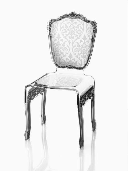 Chaise Acrylique Baroque Blanche