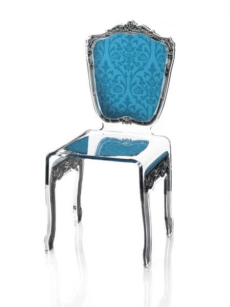 Chaise acrylique baroque bleue mobilier - Chaise baroque transparente ...