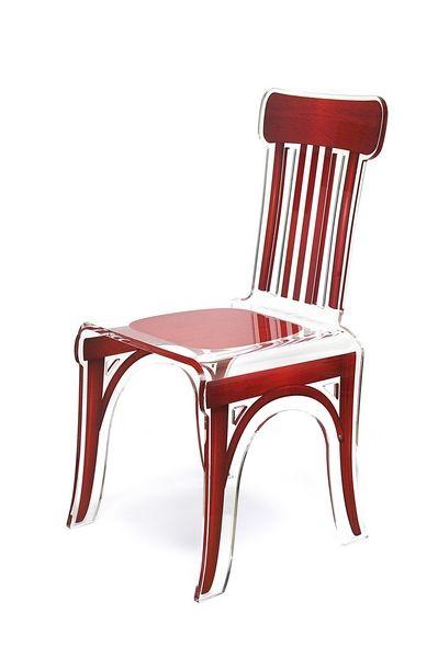 chaise acrylique bistrot bois rouge mobilier. Black Bedroom Furniture Sets. Home Design Ideas