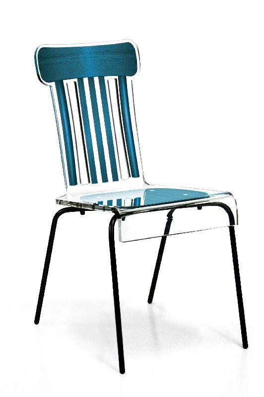 chaise acrylique bistrot pieds m tal bleu acrila. Black Bedroom Furniture Sets. Home Design Ideas